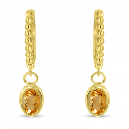 14K Yellow Gold Oval Citrine Dangle Birthstone Textured Huggie Earrings