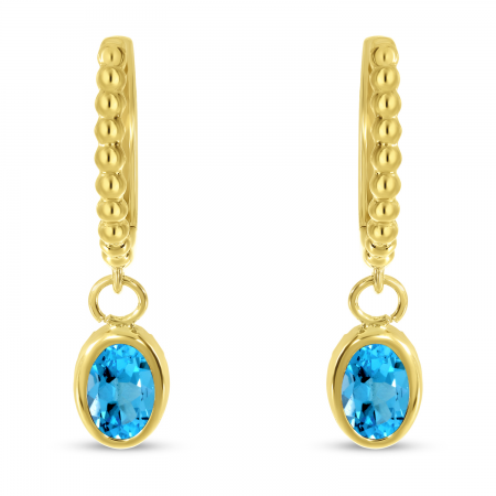 14K Yellow Gold Oval Blue Topaz Dangle Birthstone Textured Huggie Earrings