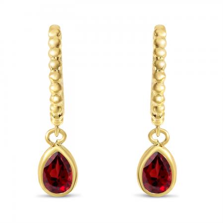 14K Yellow Gold Pear Garnet Dangle Birthstone Textured Huggie Earrings