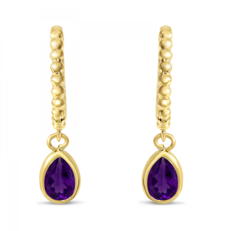 14K Yellow Gold Pear Amethyst Dangle Birthstone Textured Huggie Earrings