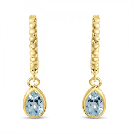 14K Yellow Gold Pear Aquamarine Dangle Birthstone Textured Huggie Earrings