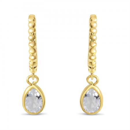 14K Yellow Gold Pear White Topaz Dangle Birthstone Textured Huggie Earrings