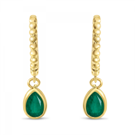 14K Yellow Gold Pear Emerald Dangle Birthstone Textured Huggie Earrings