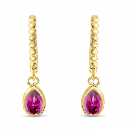 14K Yellow Gold Pear Pink Topaz Dangle Birthstone Textured Huggie Earrings