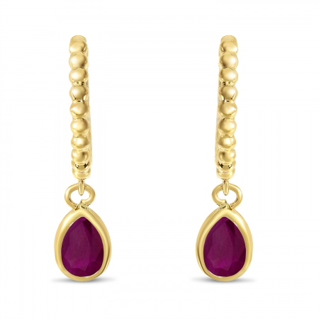 14K Yellow Gold Pear Ruby Dangle Birthstone Textured Huggie Earrings
