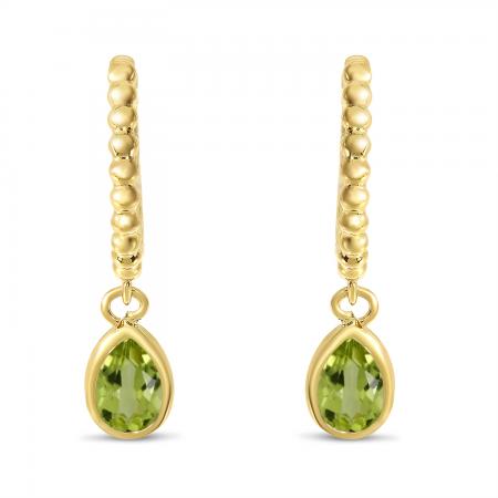 14K Yellow Gold Pear Peridot Dangle Birthstone Textured Huggie Earrings