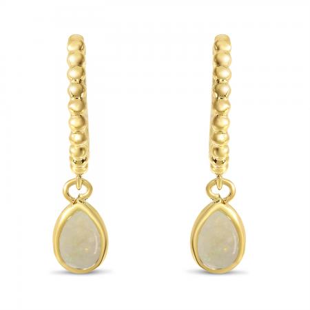 14K Yellow Gold Pear Opal Dangle Birthstone Textured Huggie Earrings