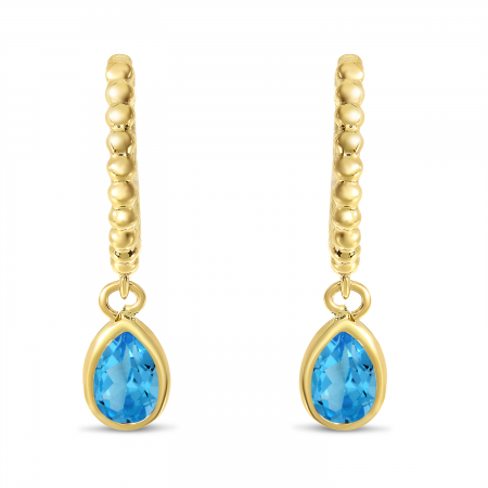 14K Yellow Gold Pear Blue Topaz Dangle Birthstone Textured Huggie Earrings