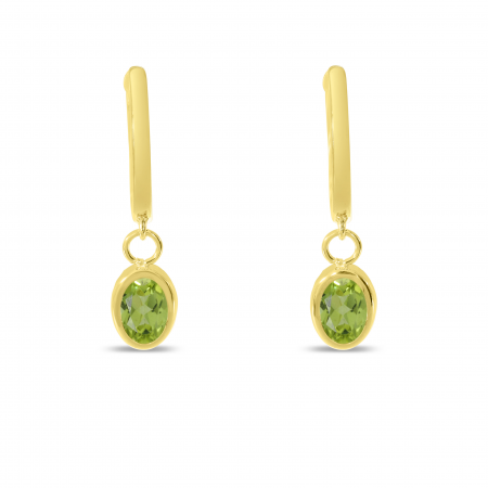 14K Yellow Gold Oval Peridot Dangle Birthstone Huggie Earrings