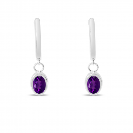 14K White Gold Oval Amethyst Dangle Birthstone Huggie Earrings