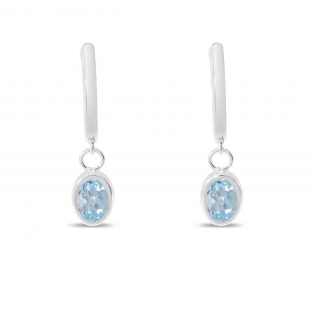 14K White Gold Oval Aquamarine Dangle Birthstone Huggie Earrings