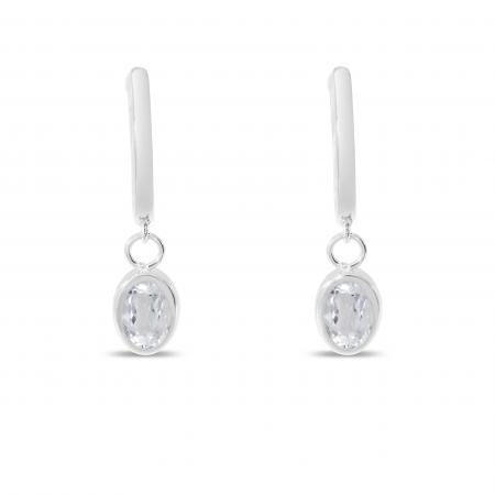 14K White Gold Oval White Topaz Dangle Birthstone Huggie Earrings