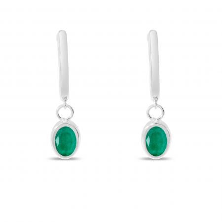 14K White Gold Oval Emerald Dangle Birthstone Huggie Earrings
