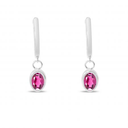 14K White Gold Oval Pink Topaz Dangle Birthstone Huggie Earrings