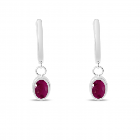 14K White Gold Oval Ruby Dangle Birthstone Huggie Earrings