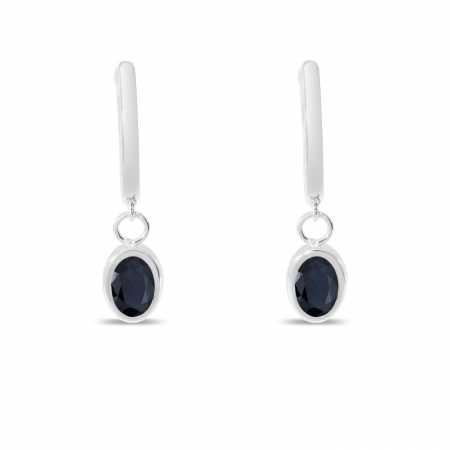14K White Gold Oval Sapphire Dangle Birthstone Huggie Earrings