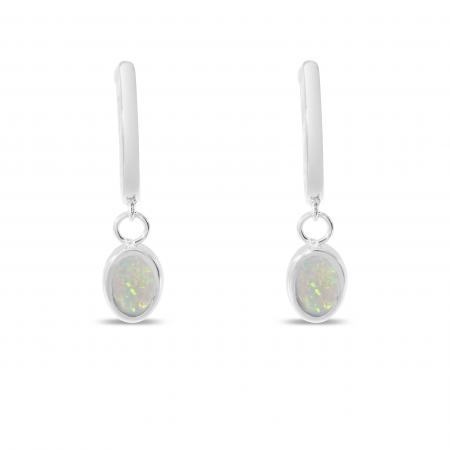 14K White Gold Oval Opal Dangle Birthstone Huggie Earrings
