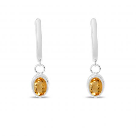 14K White Gold Oval Citrine Dangle Birthstone Huggie Earrings