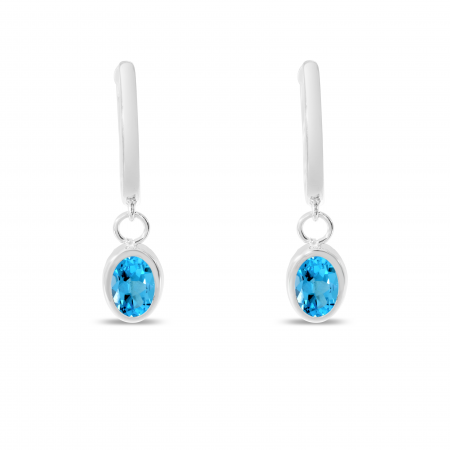 14K White Gold Oval Blue Topaz Dangle Birthstone Huggie Earrings