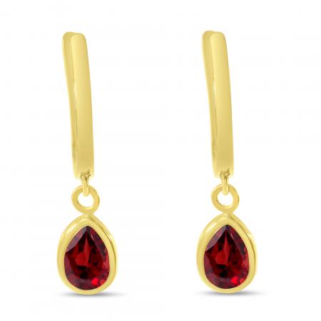 14K Yellow Gold Pear Garnet Dangle Birthstone Huggie Earrings