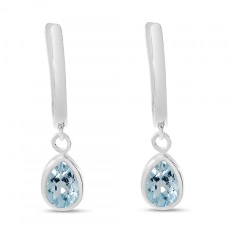 14K White Gold Pear Aquamarine Dangle Birthstone Huggie Earrings