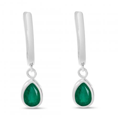 14K White Gold Pear Emerald Dangle Birthstone Huggie Earrings