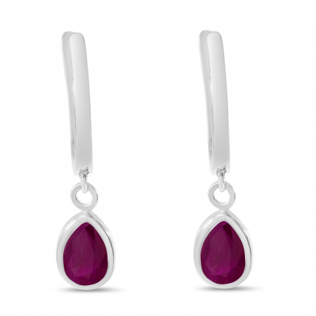 14K White Gold Pear Ruby Dangle Birthstone Huggie Earrings
