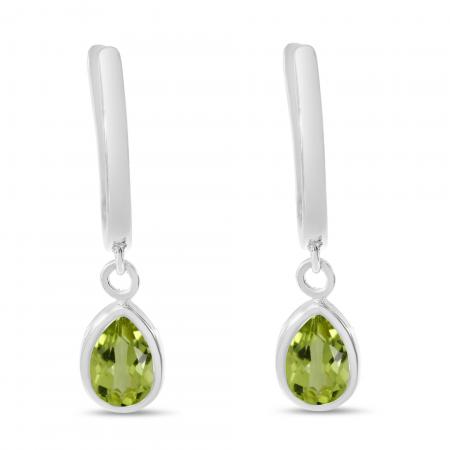 14K White Gold Pear Peridot Dangle Birthstone Huggie Earrings