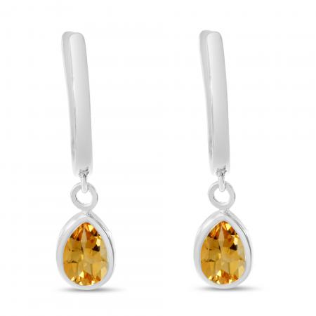 14K White Gold Pear Citrine Dangle Birthstone Huggie Earrings