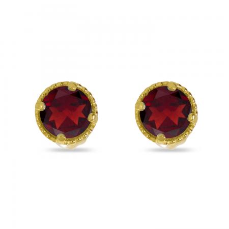 14K Yellow Gold 4mm Round Garnet Millgrain Halo Earrings