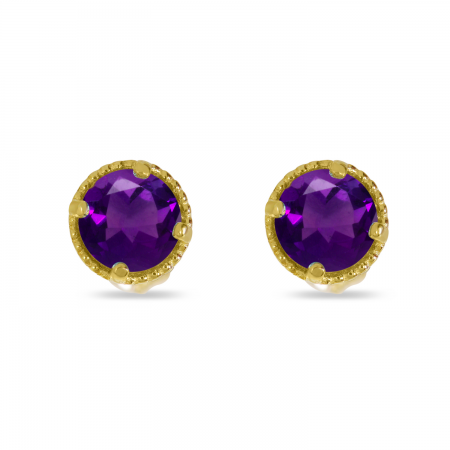 14K Yellow Gold 4mm Round Amethyst Millgrain Halo Earrings