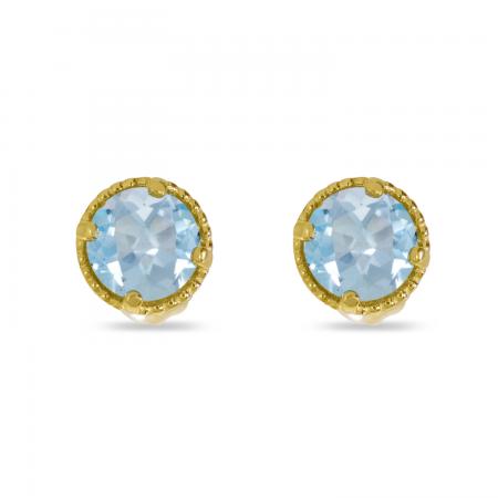 14K Yellow Gold 4mm Round Aquamarine Millgrain Halo Earrings