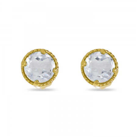 14K Yellow Gold 4mm Round White Topaz Millgrain Halo Earrings