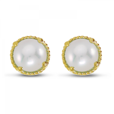 14K Yellow Gold 4mm Round Pearl Millgrain Halo Earrings