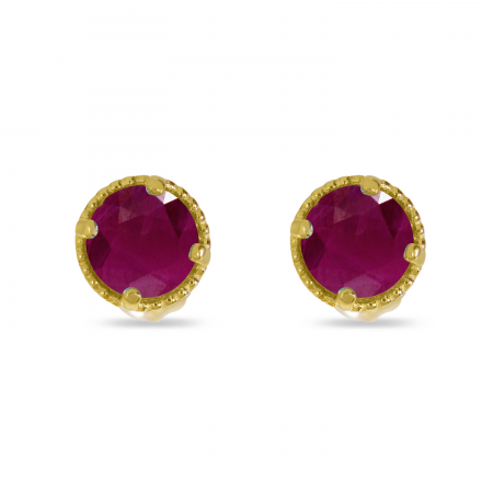 14K Yellow Gold 4mm Round Ruby Millgrain Halo Earrings