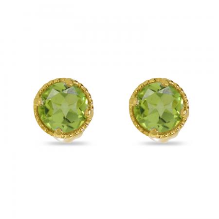 14K Yellow Gold 4mm Round Peridot Millgrain Halo Earrings