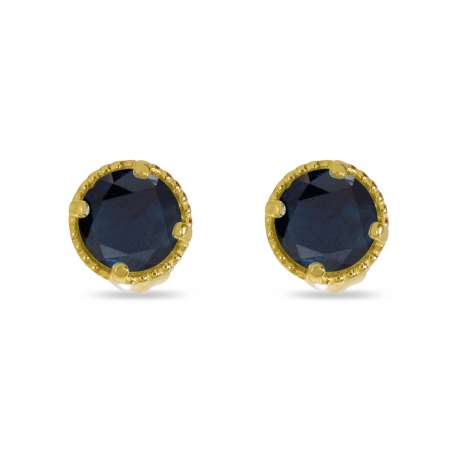 14K Yellow Gold 4mm Round Sapphire Millgrain Halo Earrings