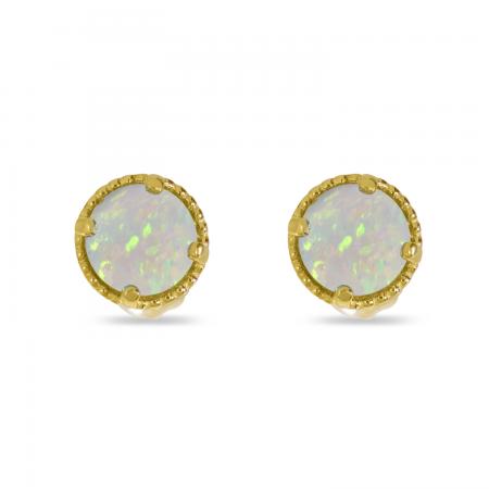 14K Yellow Gold 4mm Round Opal Millgrain Halo Earrings