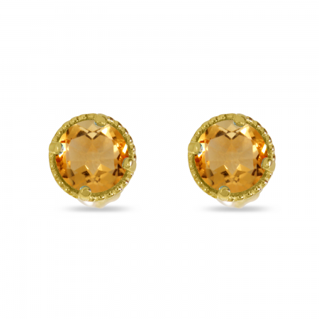 14K Yellow Gold 4mm Round Citrine Millgrain Halo Earrings