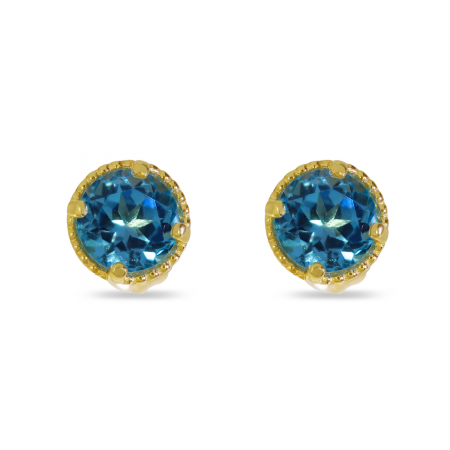 14K Yellow Gold 4mm Round Blue Topaz Millgrain Halo Birthstone Earrings