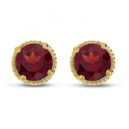 14K Yellow Gold 5mm Round Garnet Millgrain Halo Earrings