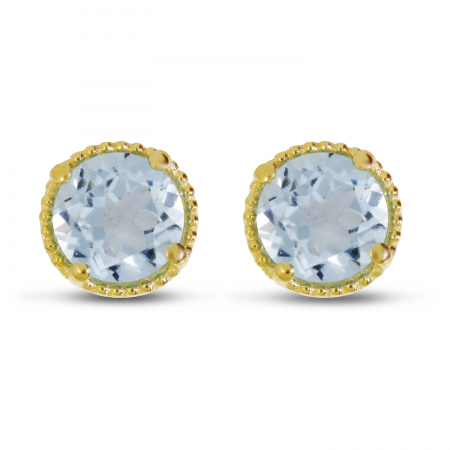 14K Yellow Gold 5mm Round Aquamarine Millgrain Halo Earrings
