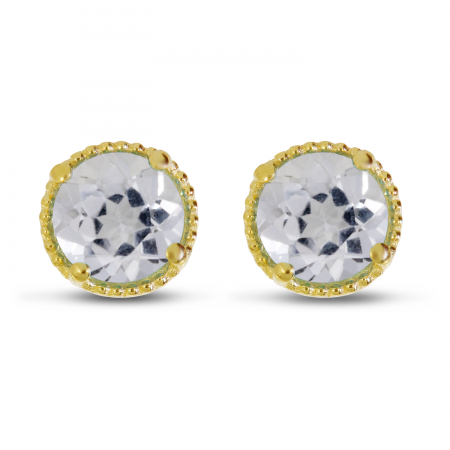 14K Yellow Gold 5mm Round White Topaz Millgrain Halo Earrings