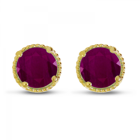 14K Yellow Gold 5mm Round Ruby Millgrain Halo Earrings