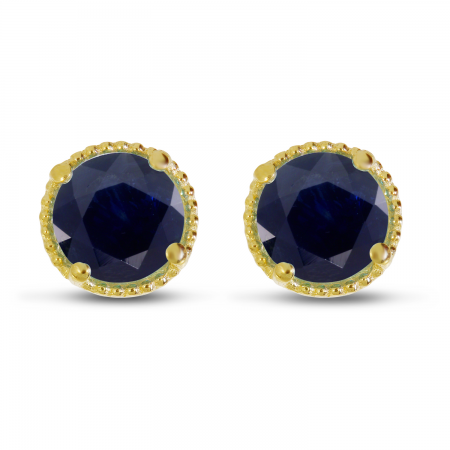 14K Yellow Gold 5mm Round Sapphire Millgrain Halo Earrings