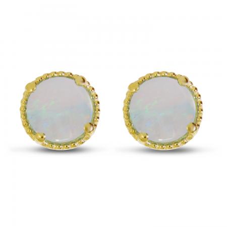 14K Yellow Gold 5mm Round Opal Millgrain Halo Earrings