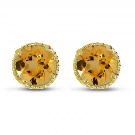 14K Yellow Gold 5mm Round Citrine Millgrain Halo Earrings