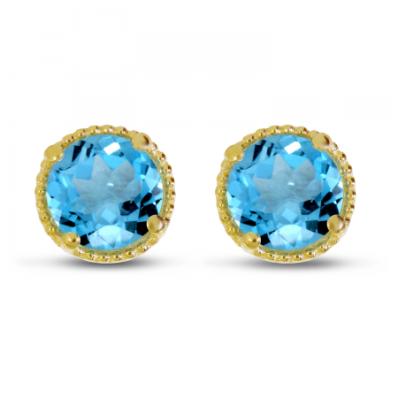 14K Yellow Gold 5mm Round Blue Topaz Millgrain Halo Earrings