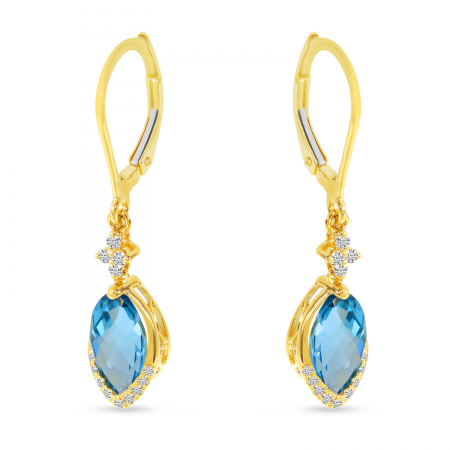 14K Yellow Gold Marquise Blue Topaz Dangle with Diamond Leverback Earrings