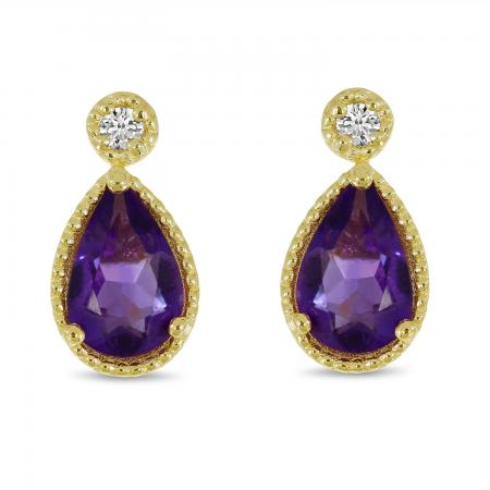 14K Yellow Gold Pear Amethyst Birthstone Earrings